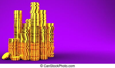 Gold Coins On Purple Text Space - 3DCG render Animation.