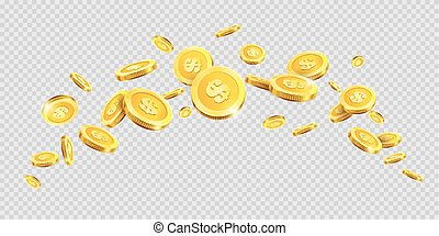 Gold coins or golden money coin splash splatter on vector transparent background