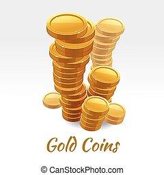 Gold coins pile. Vector financial concept