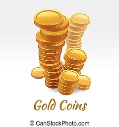 Gold coins pile. Vector financial concept