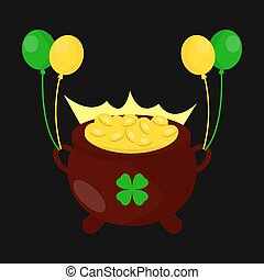 Gold coins pot for Saint Patrick day Irish holiday vector