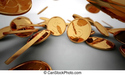 Gold coins sent, 3d render, small DOF - 3d render animation...