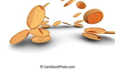 Gold coins sent isolated - 3d render animation of gold money