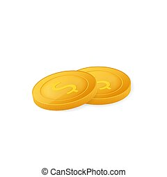 Gold coins stack. Finance heap, dollar coin pile. Vector stock illustration.