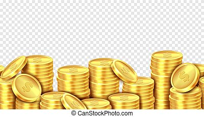 Gold coins stack. Realistic golden coin money pile, stacked...