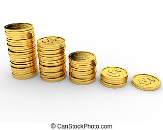 Gold coins stacks.