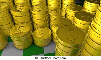 Gold coins - Stacks of gold coins.