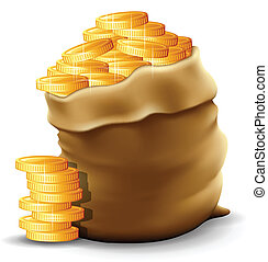 Gold Coins - Vector illustration of a sack with full gold...
