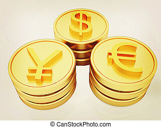 gold coins with 3 major currencies. 3D illustration. Vintage style.