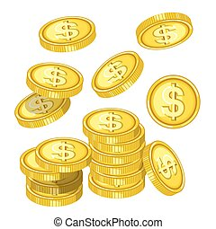 Gold coins with dollar signs drops from above