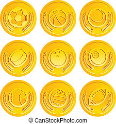 Gold Coins with Sport Balls