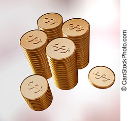 Gold coins with stamping dollar combined in columns