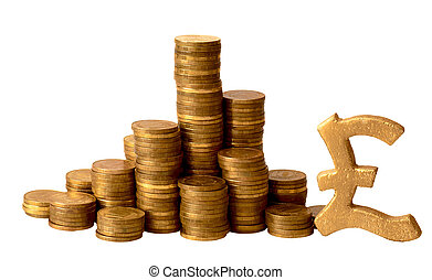 gold coins with sterling signs isolated on a white...