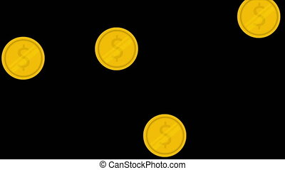 Gold coins with the image of the dollar falling on a black background. Motion graphics