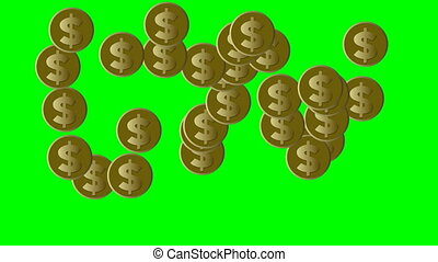Gold coins with US dollar symbol moving on green screen, loop animation with financial business theme