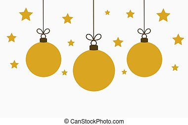 Gold color Christmas baubles ornaments on white background.