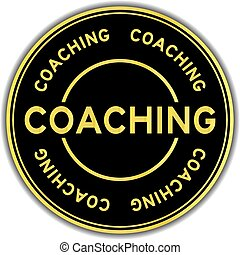 Gold color coaching word round sticker on white background