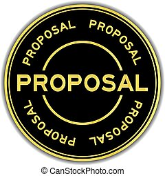 Gold color proposal word round sticker on white background