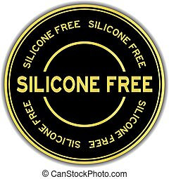 Gold color silicone free word round sticker on white background