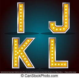 Gold color silver stroke with lamps alphabet