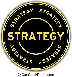 Gold color strategy word round sticker on white background