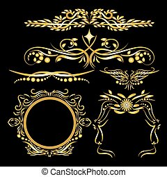 Gold Color Vintage Decorations Elements Flourishes Calligraphic Ornaments and Frames Black background