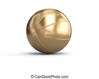 gold-colored basketball on a white background.
