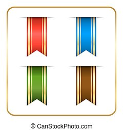 Gold colored bookmark banners set