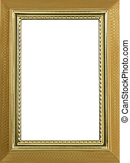 gold colored metal frame on a white background