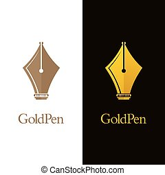 Gold Colored Pen Logos - Luxury fountain pen nib icons. Gold...