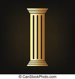 Gold column icon. Vector illustration