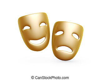 comedy and tragedy masks - gold comedy and tragedy masks...
