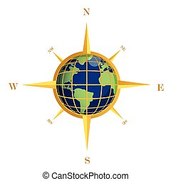 Gold Compass globe illustration
