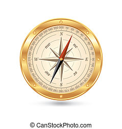 gold compass - golden compass isolated on white