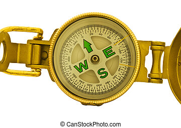Gold compass isolated on white background