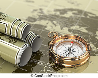 Gold compass  on world map background.
