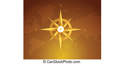 gold compass over a world map brown background