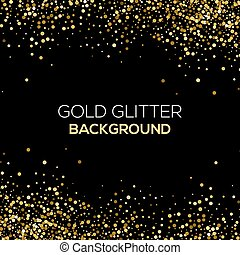 Gold confetti glitter on black background. Abstract gold dust glitter background. Golden explosion of confetti. Golden grainy abstract background. Vector design