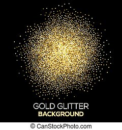 Gold confetti glitter on black background. Abstract gold dust glitter background. Golden explosion of confetti. Golden grainy abstract background. Vector