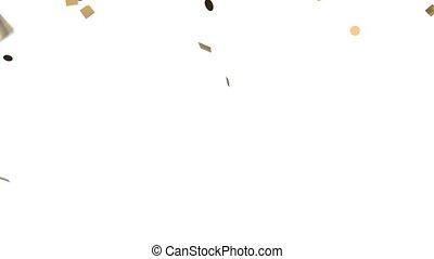 Gold confetti on white background