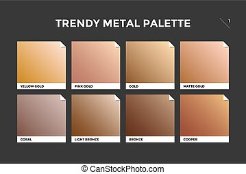 Gold, copper and bronze gradient template. Collection...