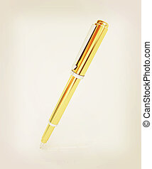 Gold corporate pen design . 3D illustration. Vintage style.