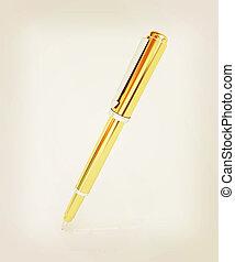 Gold corporate pen design . 3D illustration. Vintage style.