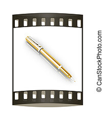 Gold corporate pen design. The film strip