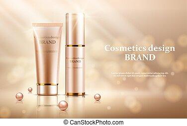 Gold cosmetic bottles mockup on a gold background, vector illustration