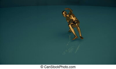 Gold covered human form performs a dance then deflates. - A...