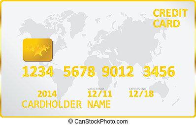 Gold Credit Card Vector Illustration