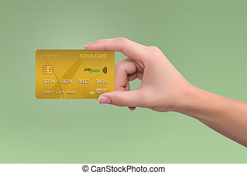 Gold credit card in woman hand