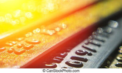 Gold credit cards close up. Macro shot smart card, credit...