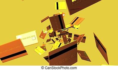 Gold Credit cards on beige background. Loop able 3D render...